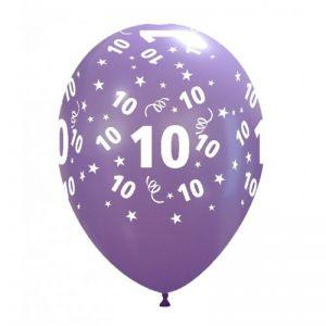 10 Ballonnen met opdruk cijfer 10