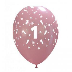 10 Ballonnen met opdruk cijfer 1