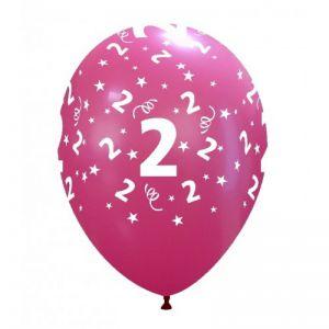 10 Ballonnen met opdruk cijfer 2