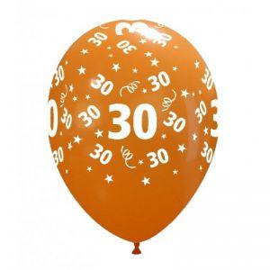 10 Ballonnen met opdruk cijfer 30