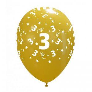 10 Ballonnen met opdruk cijfer 3