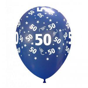 10 Ballonnen met opdruk cijfer 50