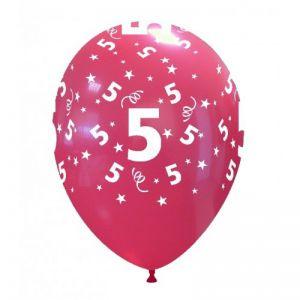 10 Ballonnen met opdruk cijfer 5