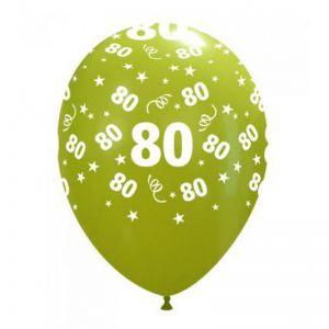 10 Ballonnen met opdruk cijfer 80