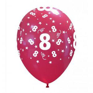 10 Ballonnen met opdruk cijfer 8