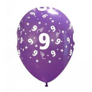 10 Ballonnen met opdruk cijfer 9