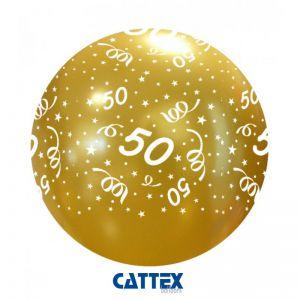Metallic gouden ballon 50 jaar 65 cm