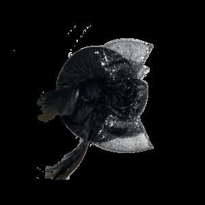 Gala hoedje met clip Zwart 10 cm