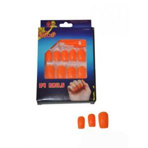Nagels 24 stuks neon oranje