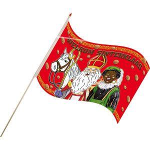 Vlagje Sinterklaas en Piet (17x25 cm.) Stokje 40cm
