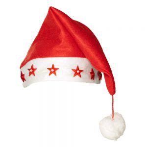 Kerstmuts Rood met sterren en licht