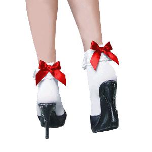 Kousen kort wit met rode strikjes