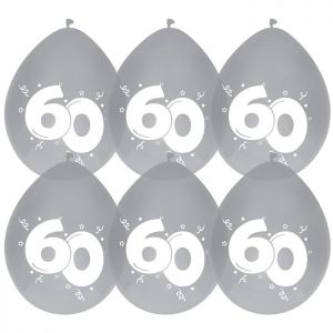 Latex ballonnen zilver/wit 60 jaar
