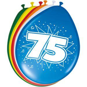 Latex Ballonnen 75 jaar gekleurd