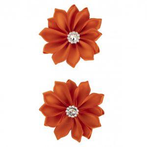 Satijnen bloemen met steentje Oranje 12 st. 6 cm