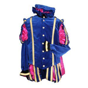 Pieten kostuum Fluweel Luxe Malaga Blauw-Roze