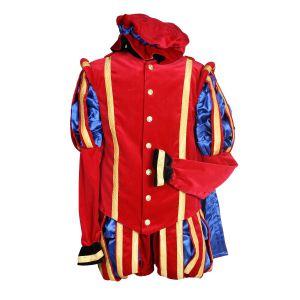 Pieten kostuum Fluweel Luxe Malaga Rood-Blauw