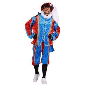 Pieten kostuum Velours met cape Turquoise-Rood Bilbao