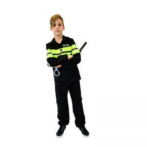 Politie kostuum zwart/fluor geel
