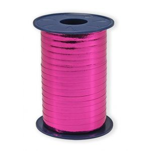 Ballonnen Polyband metallic fuchsia roze 5 mm/400 meter