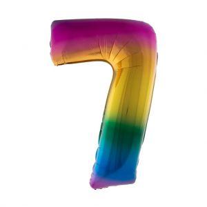 Folieballon Regenboog cijfer 0