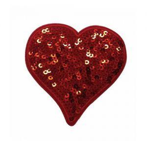 Strijkapplicatie Hartje rood met pailletten