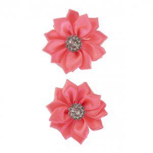 Satijnen bloemen met steentje Roze 12 st.
