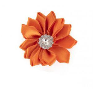 Satijnen bloemen met steentje Oranje 12 st.