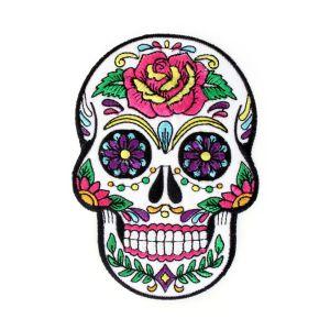 Strijkapplicatie Suger Skull Bloemen