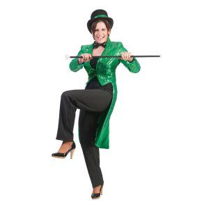 Dames slipjas Groen Glitter
