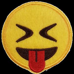 Strijkapplicatie Smiley Dichte ogen met tong