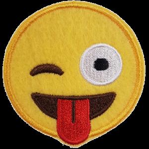 Strijkapplicatie Smiley Knipoog met tong