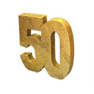 Tafeldecoratie 50 glitter goud