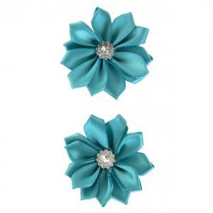 Satijnen bloemen met steentje Turquoise 12 st. 6 cm