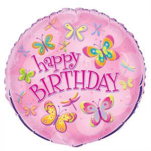 Folieballon Happy Birthday Vlinders