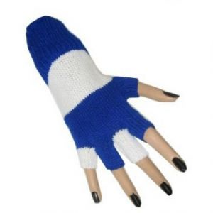 Handschoen vingerloos blauw/wit