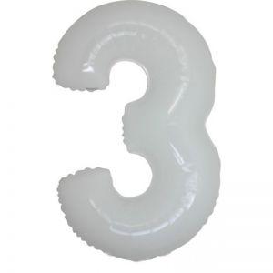 Folieballon Wit Cijfer 3, 100 cm