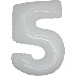 Folieballon Wit Cijfer 5, 100 cm