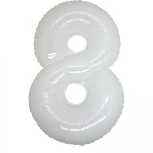 Folieballon Wit Cijfer 8, 100 cm