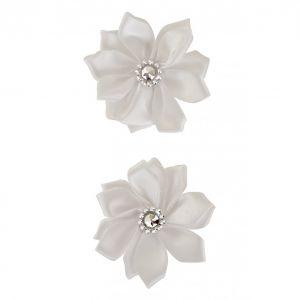 Satijnen bloemen met steentje Wit 12 st. 6 cm