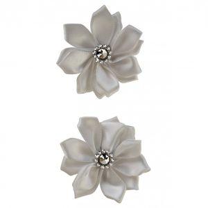 Satijnen bloemen met steentje Zilver 12 st. 6 cm