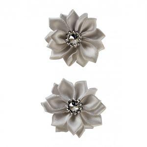 Satijnen bloemen met steentje Zilver 12 st.