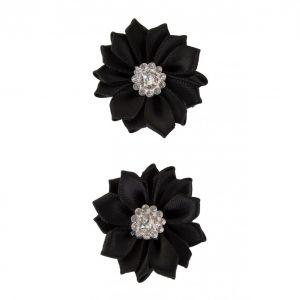 Satijnen bloemen met steentje Zwart 12 st.