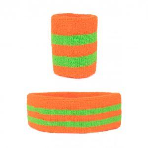 Set 2 polsbandjes en 1 hoofdband oranje/groen